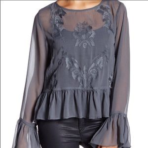 Walter Baker Sheer Embroidered Beth Blouse